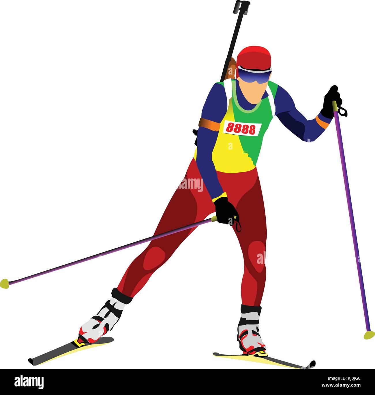 Biathlon runner silhouette. Vector illustration - Stock Vector