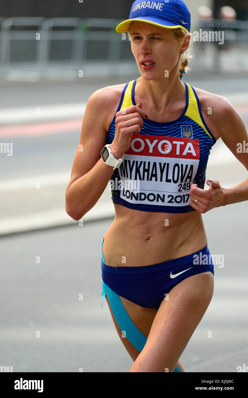 Darya Mykhaylova, Ukraine, 2017 IAAF world championship women's marathon, London, United Kingdom - Stock Image