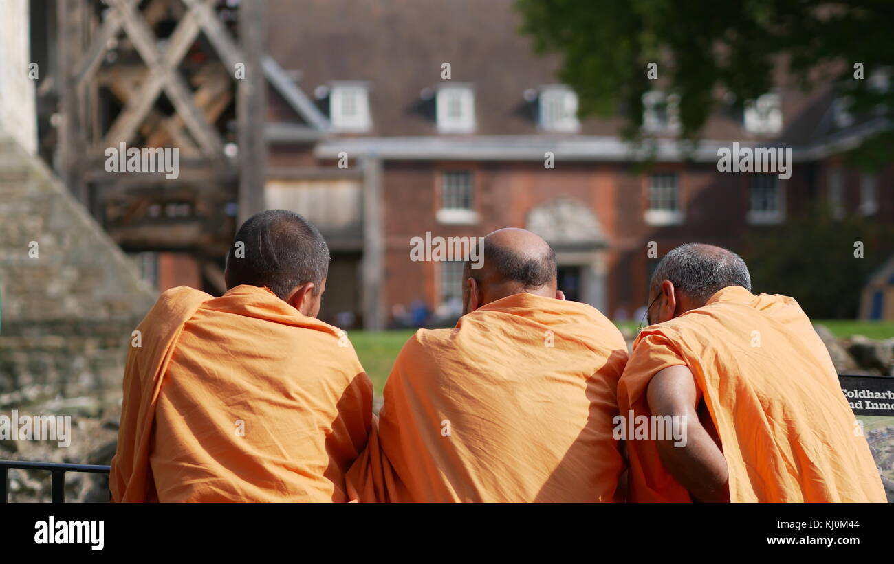 Buddhist Monks at the Tower of London - Stock Image