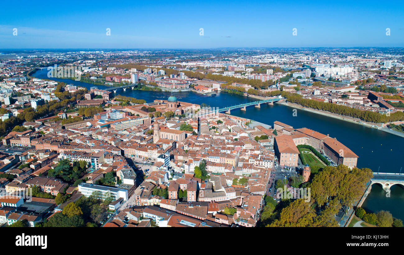 Aerial view of Toulouse city in Haute Garonne, France - Stock Image