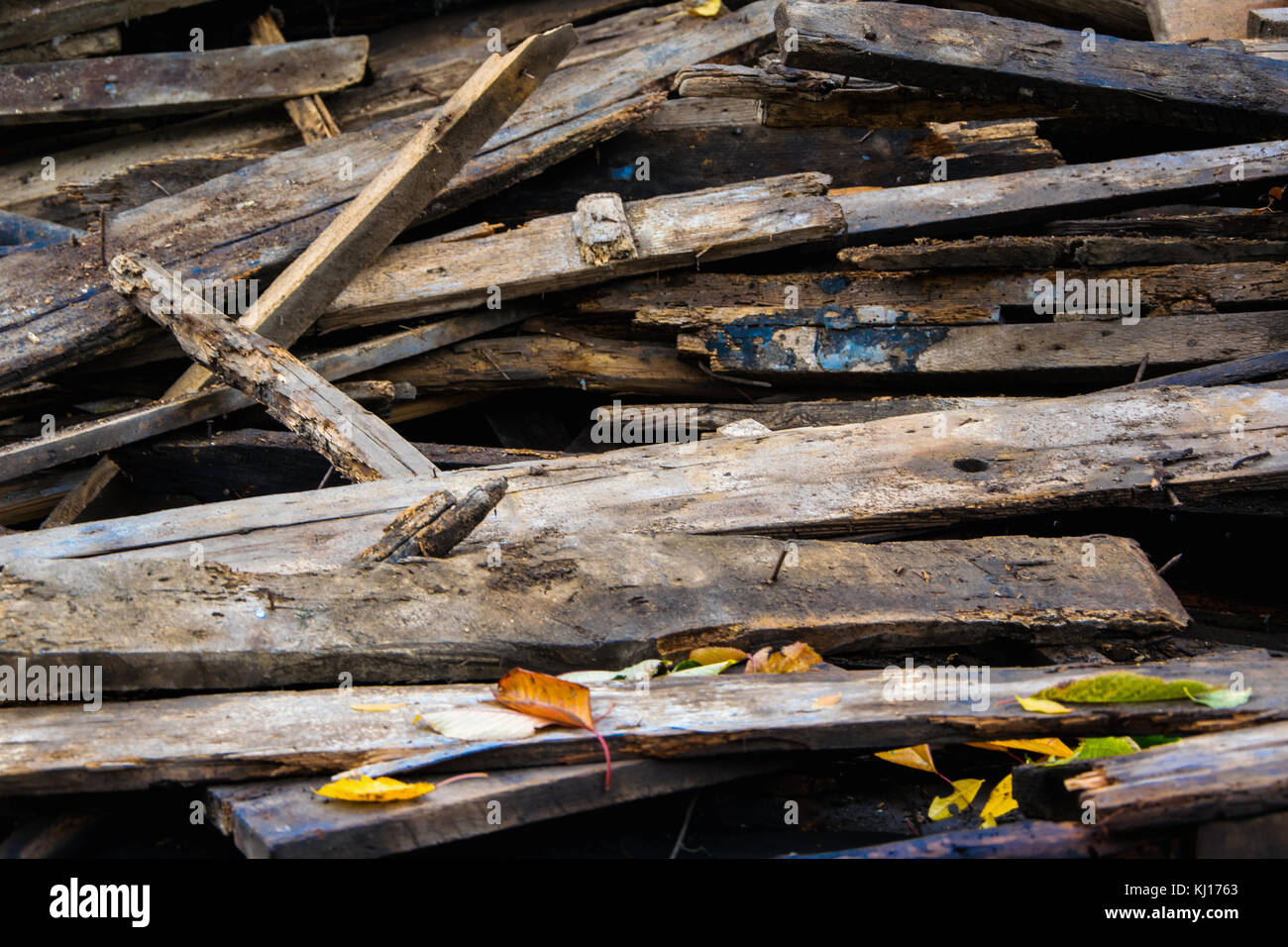 Amass of old wooden planks Stock Photo