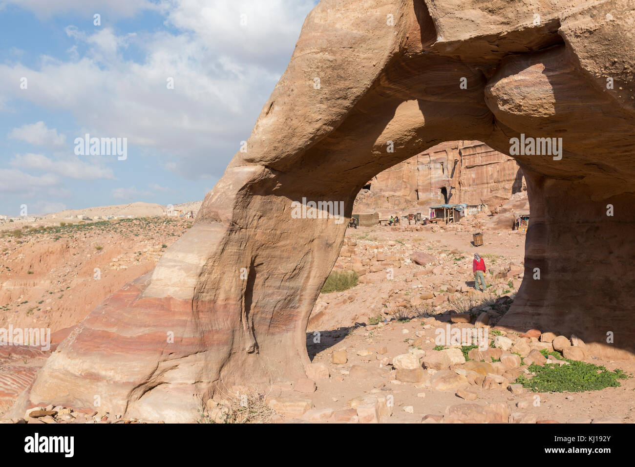 Stone Arch in the valley of Petra, Jordan Stock Photo