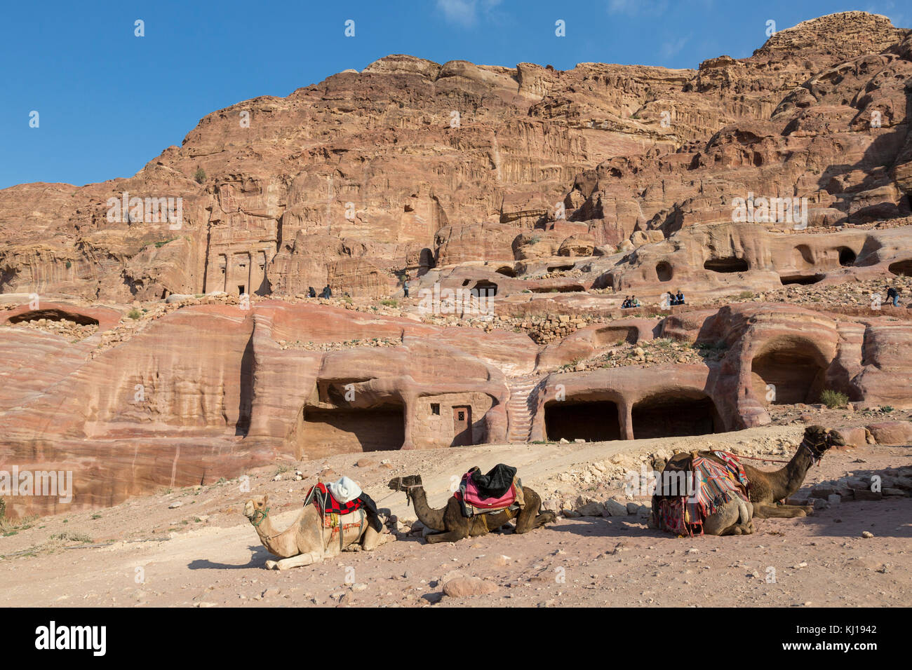 Petra, Jordan, December 25th 2015: Stone Arch in the valley of Petra, JordanUrn Tomb, Silk Tomb and Royal tombs Stock Photo