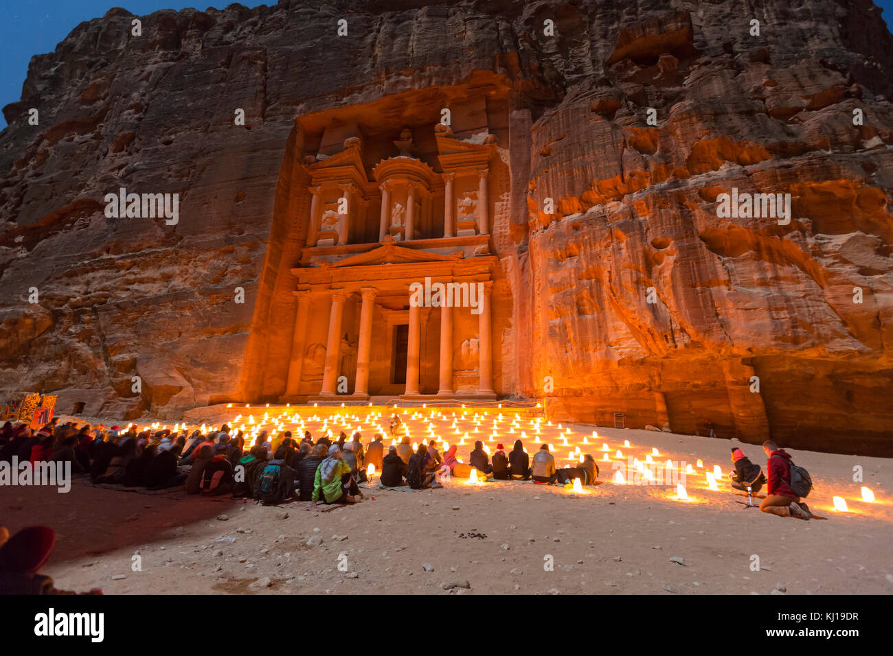 Petra, Jordan, December 24th 2015, The Treasury, Petra By Night. An Ancient City of Petra, Al Khazneh in Jordan Stock Photo