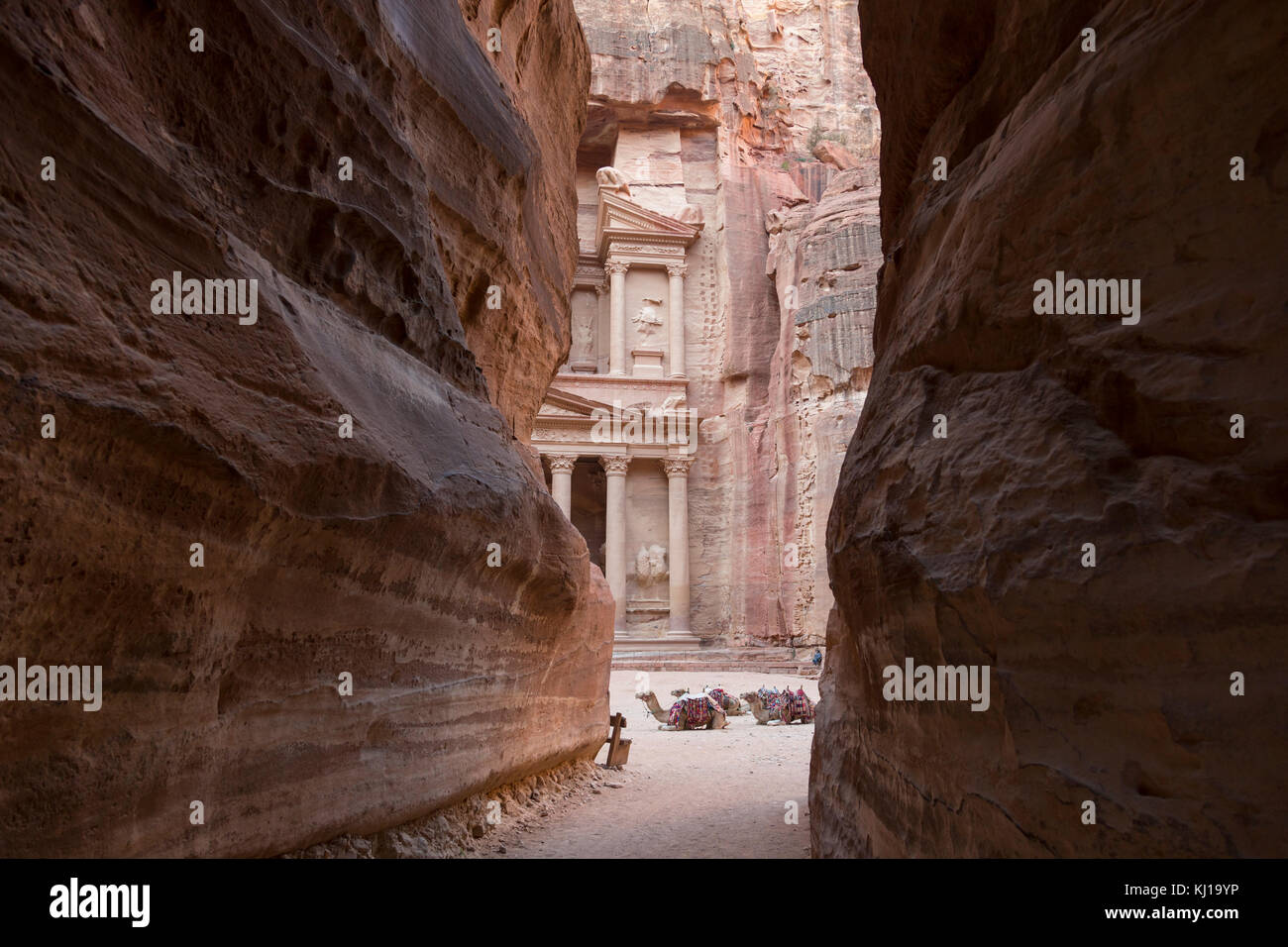 View from Siq on entrance of City of Petra, Khazneh in the background, Jordan - Stock Image