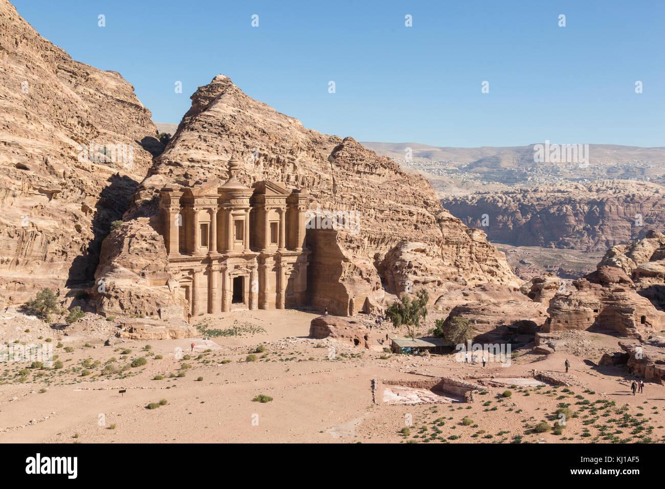 The Monastery Al Deir in Petra, Jordan - Stock Image