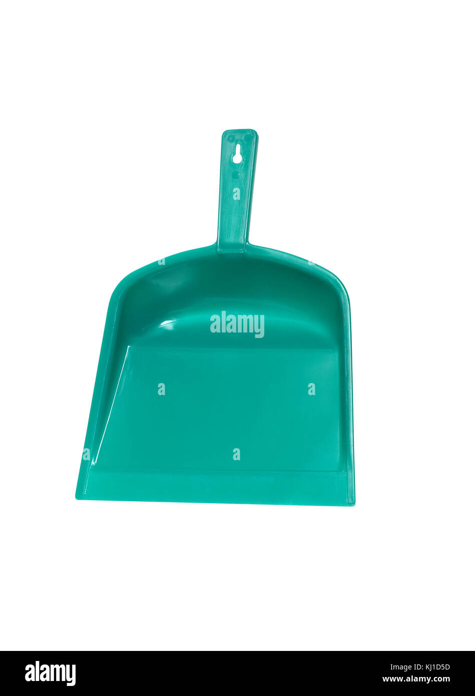 Green plastic dustpan isolated on white background with clipping path - Stock Image