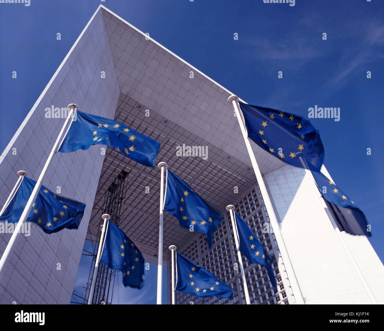 European Union Flags in front of the Grand Arch at La Defense, Paris, France Stock Photo