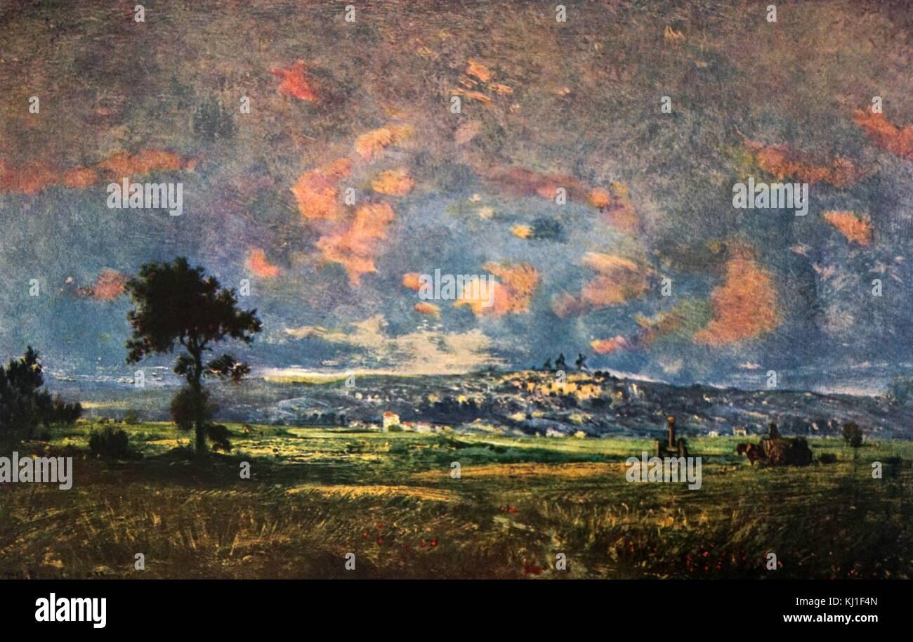 Vue de la plaine de Montmartre, effet d'orage 1834 by Théodore Rousseau (1812-1867). Oil on canvas. Ecole - Stock Image