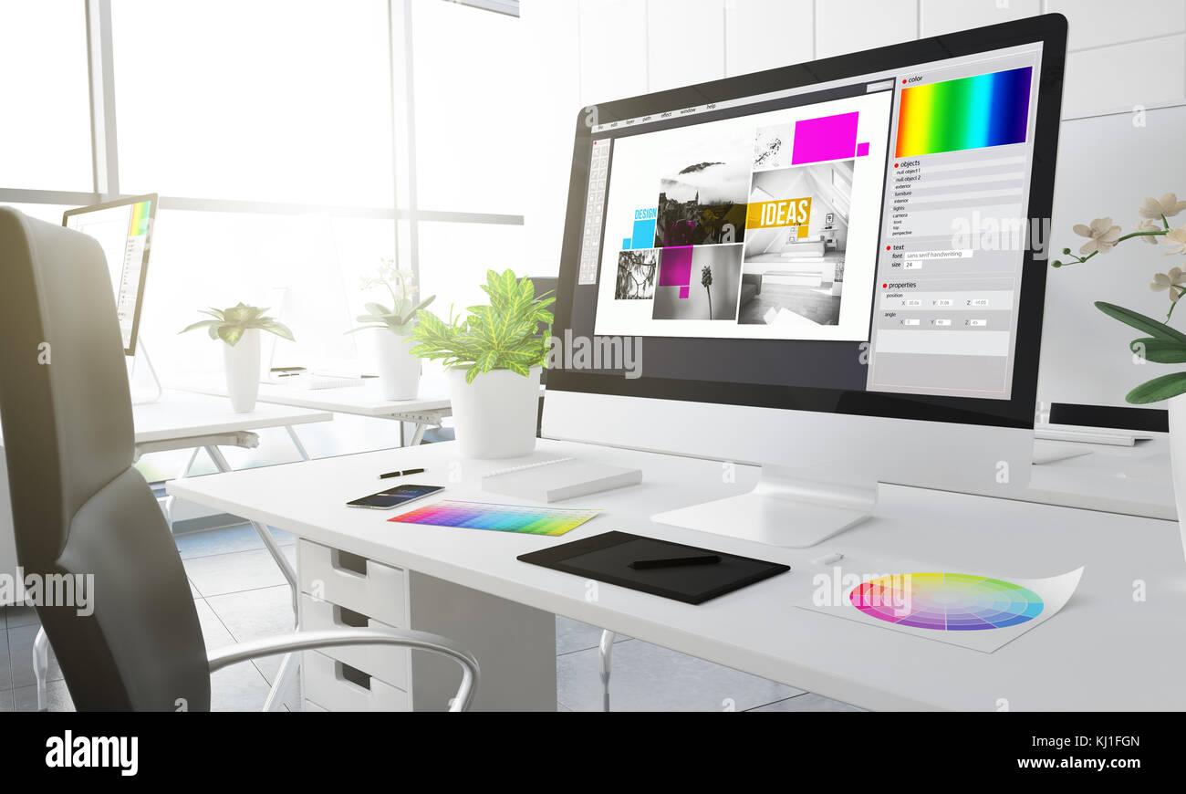 typesetting design studio 3d rendering - Stock Image