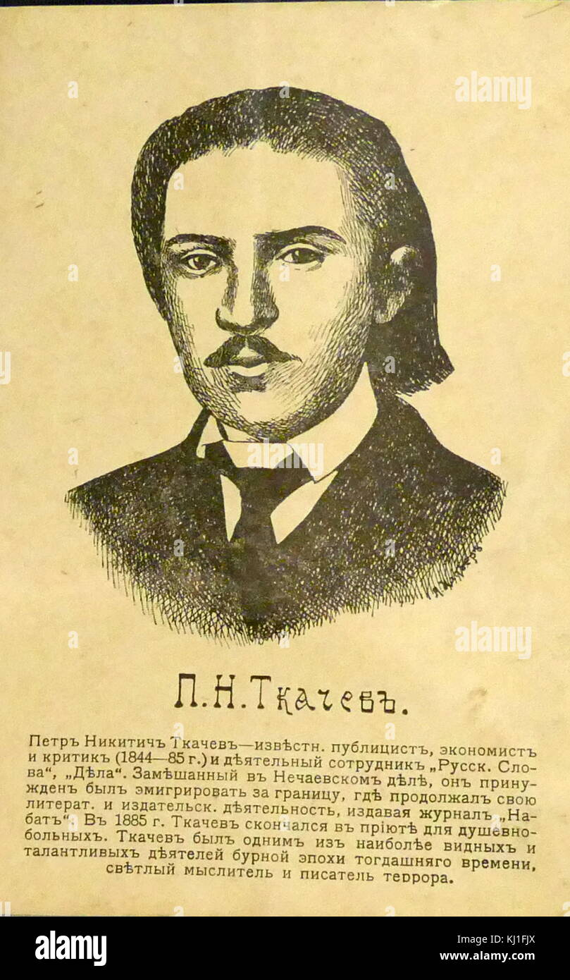 Pyotr Nikitich Tkachev (1844 -1886) - literary critic and publicist. One of the ideologists of populism. Apologist - Stock Image