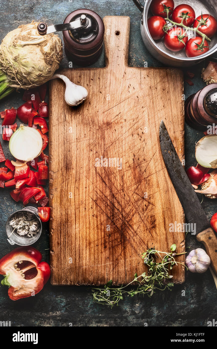 Healthy Food Background With Aged Cutting Board Cooking Pot Stock Photo Alamy