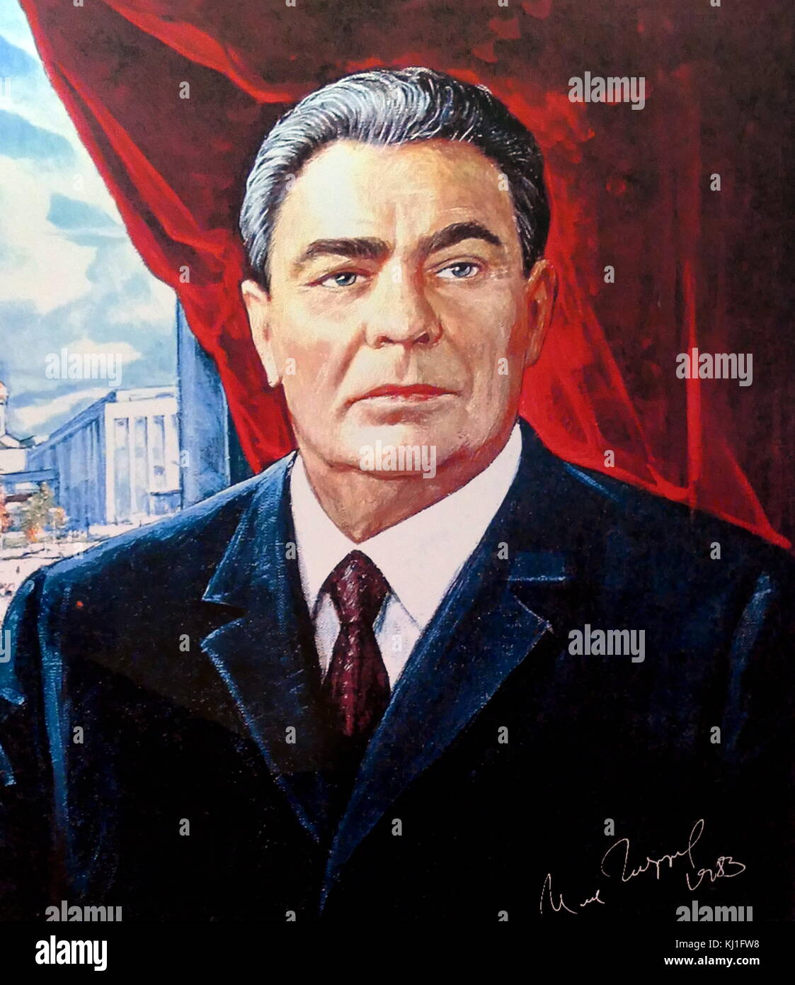 Leonid Ilyich Brezhnev (1906 – 1982). Brezhnev was the General Secretary of the Central Committee of the Communist - Stock Image