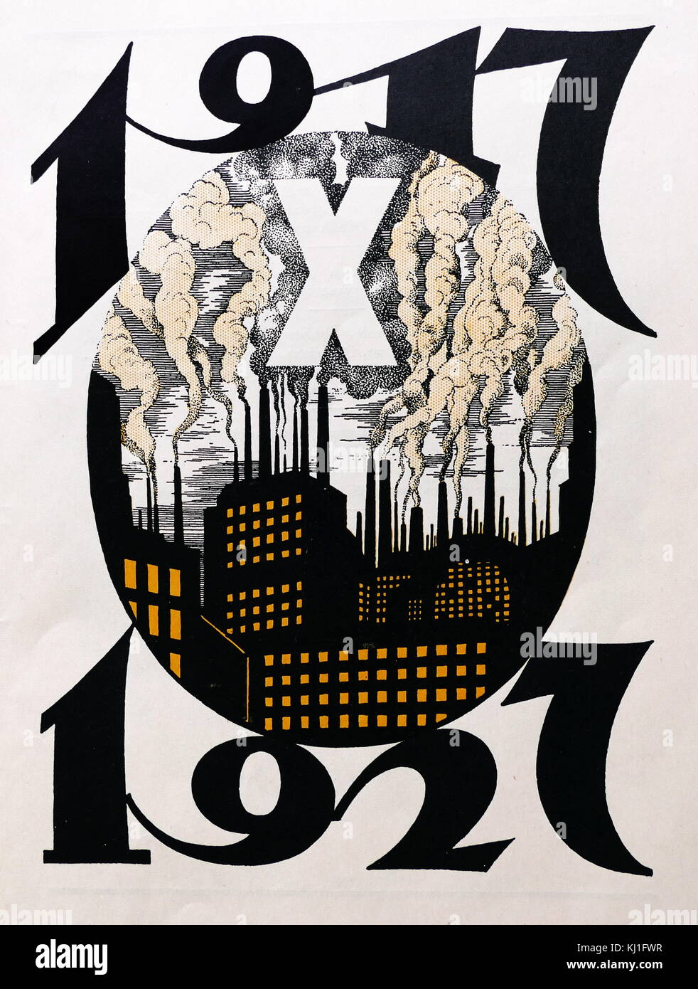 1927, 10th anniversary illustration, commemorating the 1917 Russian revolution. Shows a smoking factory complex - Stock Image