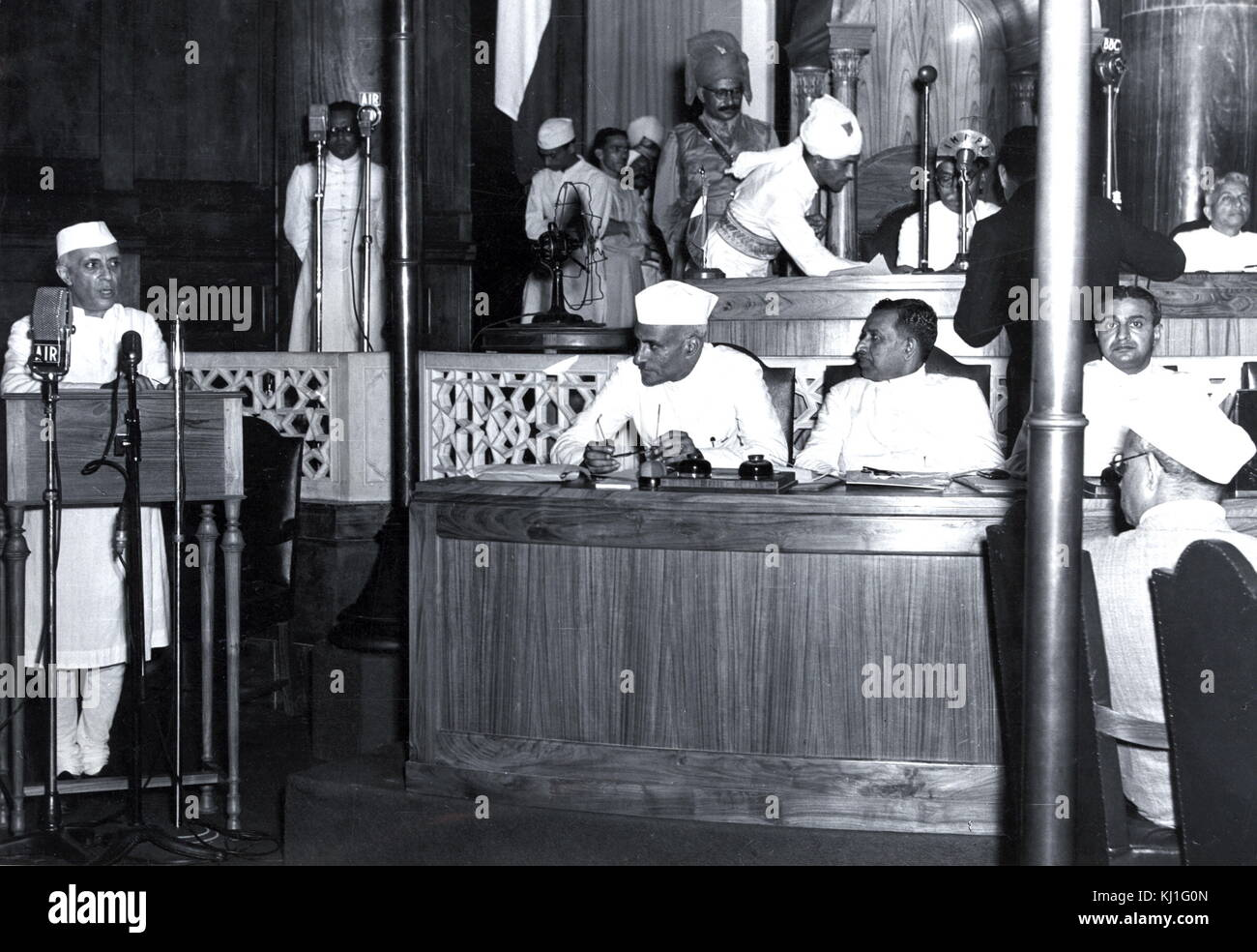 Jawaharlal Nehru at the declaration of Indian Independence, 15 August 1947. Nehru (1889 -1964) was a leader of Indian - Stock Image