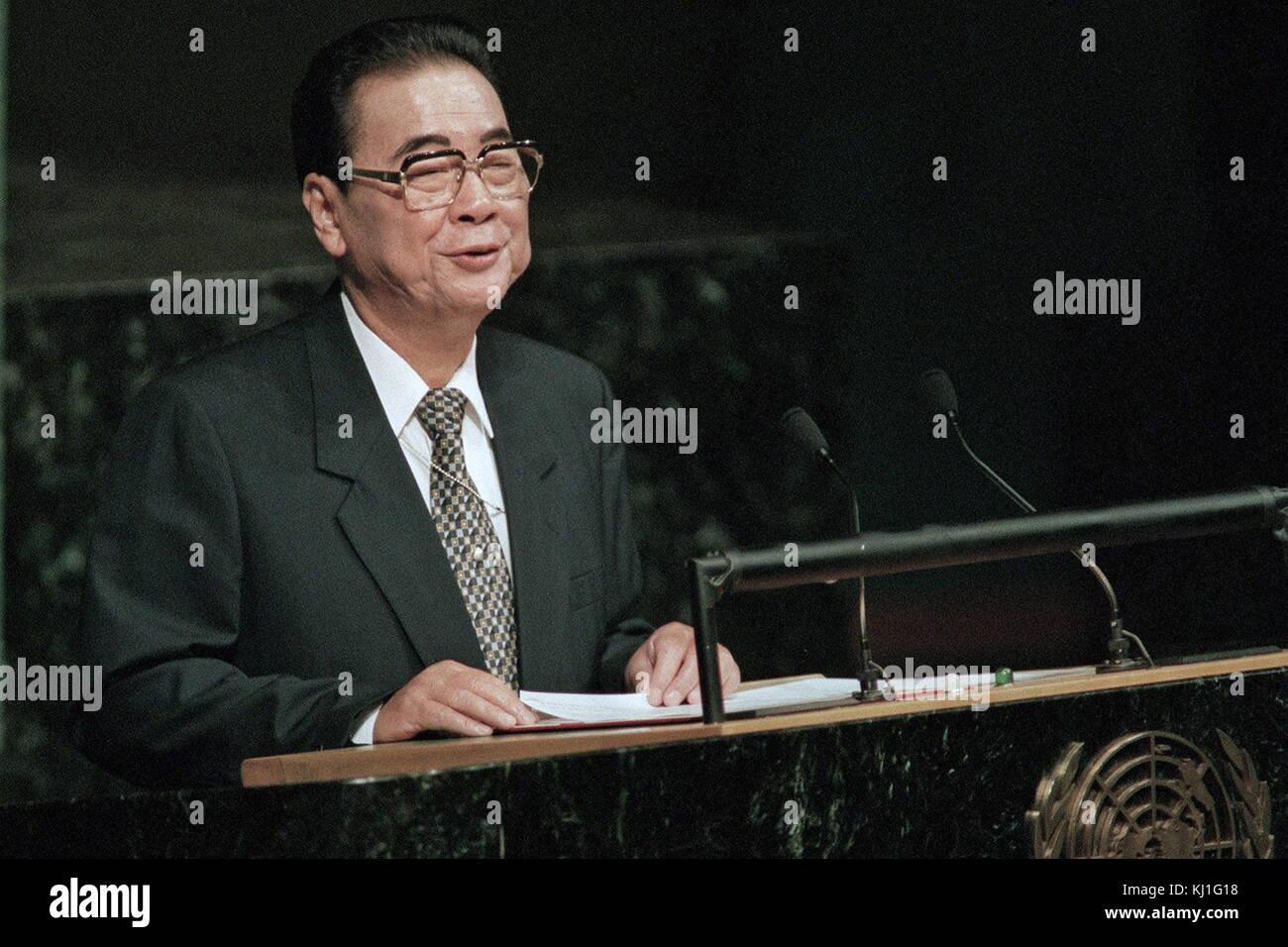 Li Peng (born 1928) Premier of the People's Republic of China, between 1987