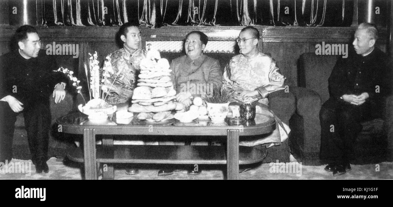 Mao Zedong, Chinese, Communist Party Chairman (centre), Liu Shao qi (President of China) (right), Zhou Enlai (Prime - Stock Image
