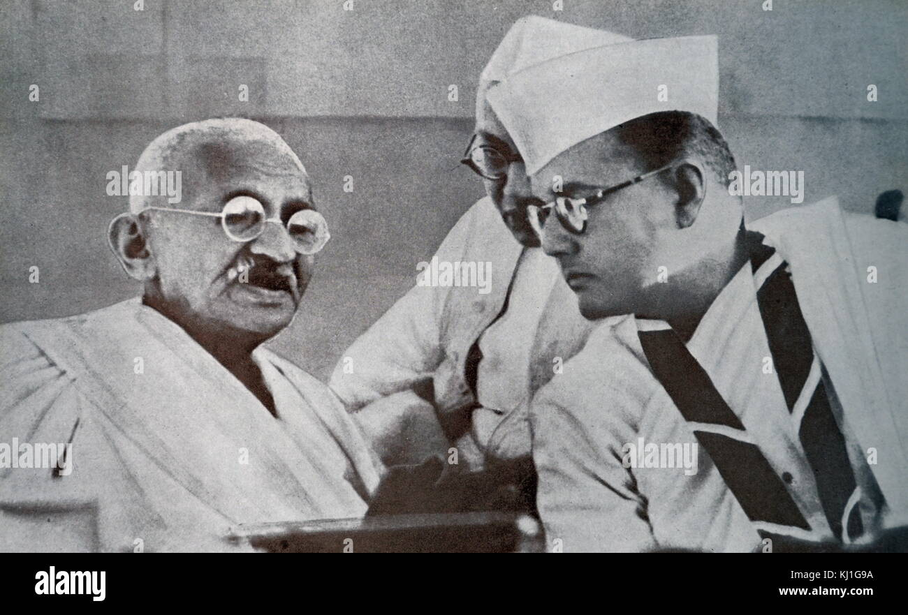 Mohandas K. Gandhi and Subhas Bose, prominent leaders of Indian Freedom Movement, at 51st Indian National Congress - Stock Image