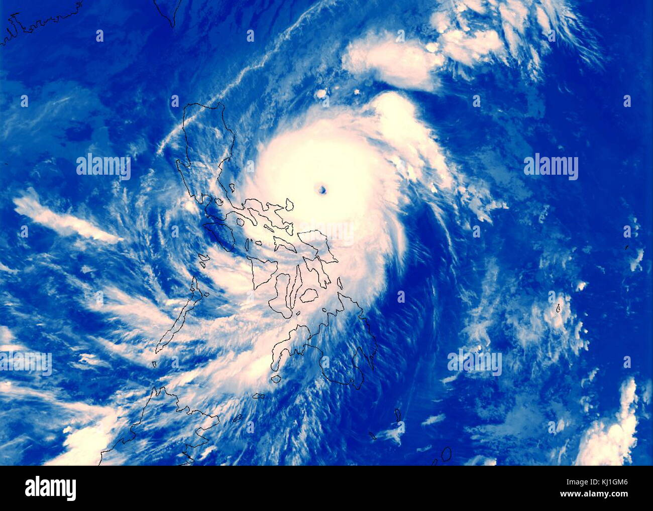 Super Typhoon Angela about to made landfall at the Philippines with 260km/h (160mph) winds, 1995. Typhoon Angela, - Stock Image