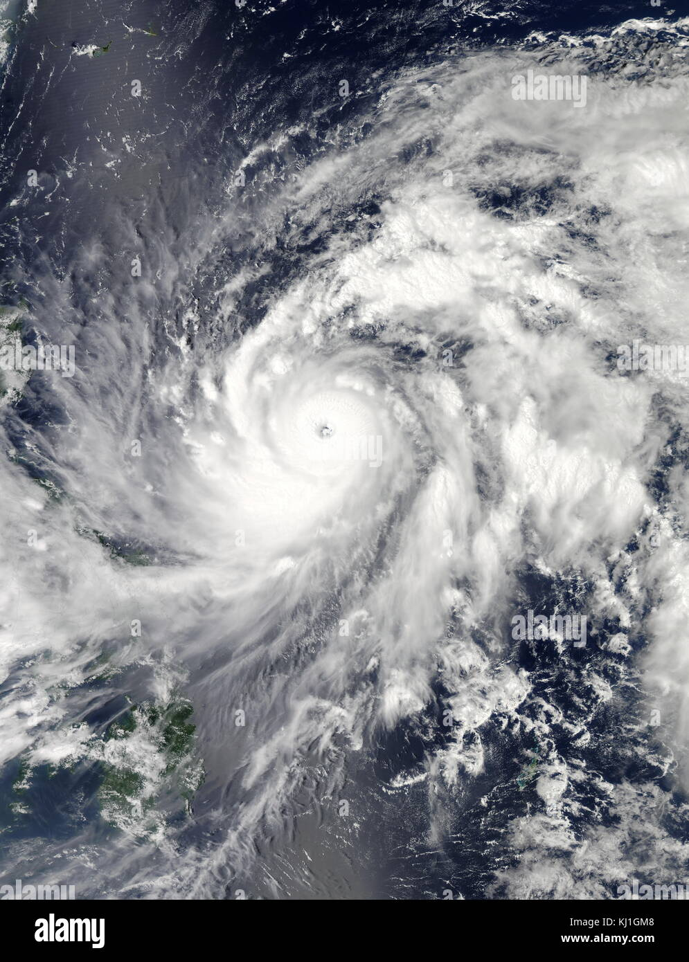 Typhoon Sanba, known in the Philippines as Typhoon Karen, was the strongest tropical cyclone worldwide in 2012. - Stock Image