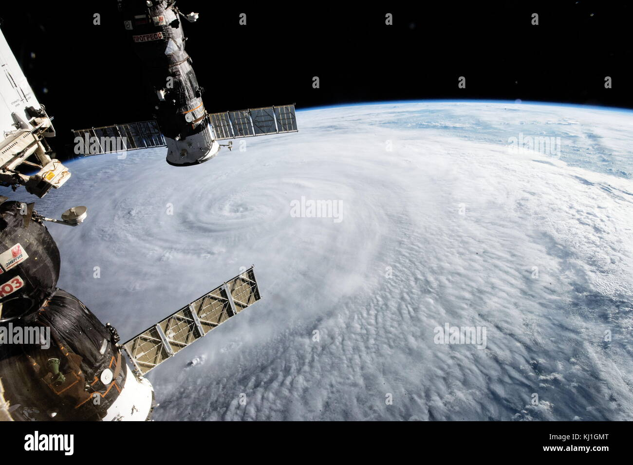 Typhoon Soudelor photographed from the International Space Station on Aug. 5, 2015 while the storm was traveling Stock Photo