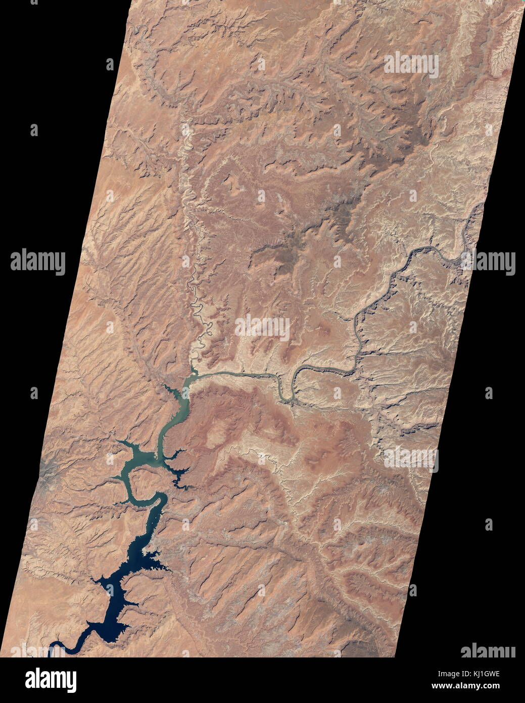 Lake Powell, is a reservoir on the Colorado River, straddling the border between Utah and Arizona (most of it, along - Stock Image