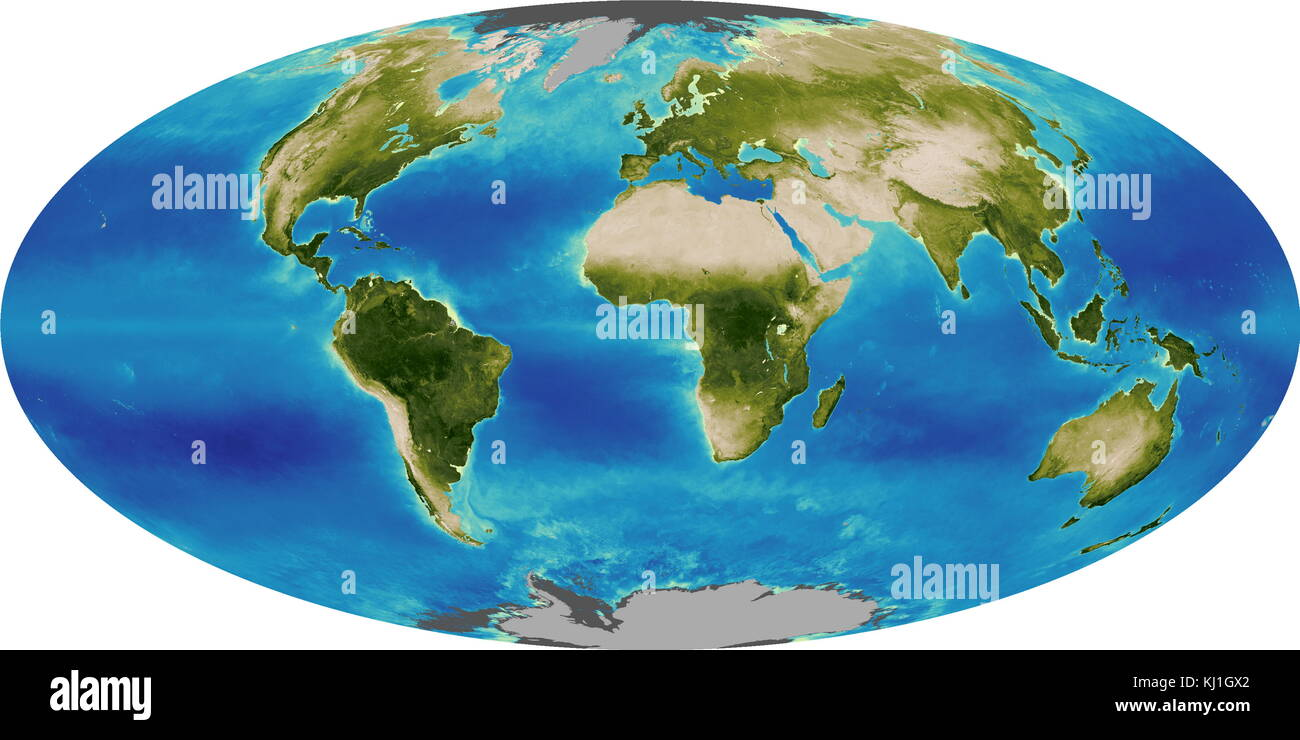 Graphic illustrating the Global Biosphere in 1999. The biosphere also known as the ecosphere, is the worldwide sum - Stock Image