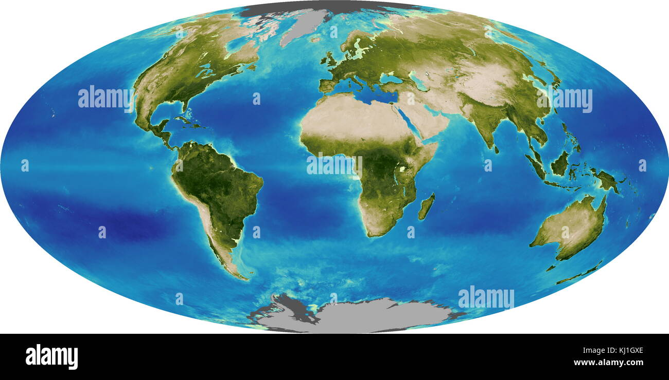 Graphic illustrating the Global Biosphere in 2005. The biosphere also known as the ecosphere, is the worldwide sum - Stock Image