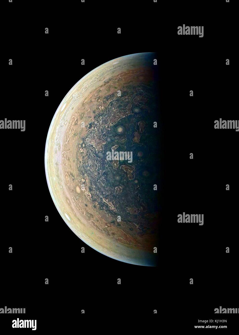 photo of Jupiter's south polar region, captured by the JunoCam imager on NASA's Juno Orbiter on Feb. 2, 2017 reveals - Stock Image
