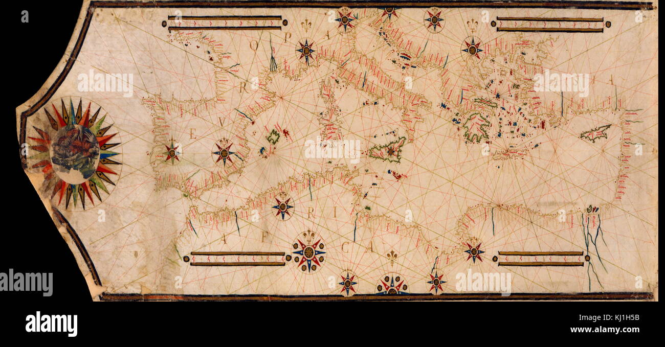 Portolan Map of the Mediterranean and connecting seas. Portolan or portulan charts are navigational maps based on Stock Photo