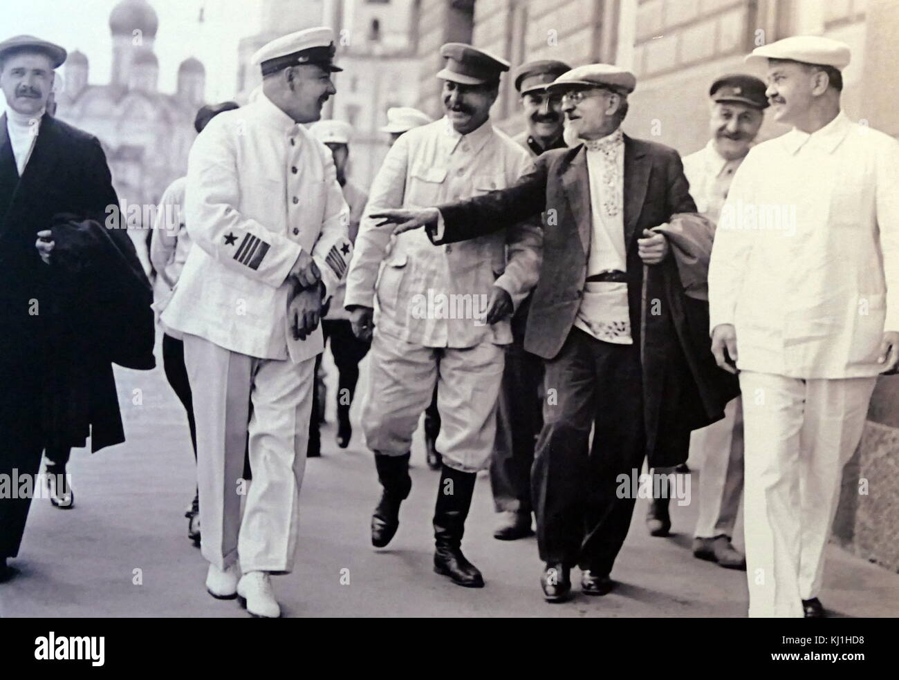 Members of the Soviet Russian Politburo of the CPSU and the Soviet government. Moscow. 1936. From left to right: - Stock Image