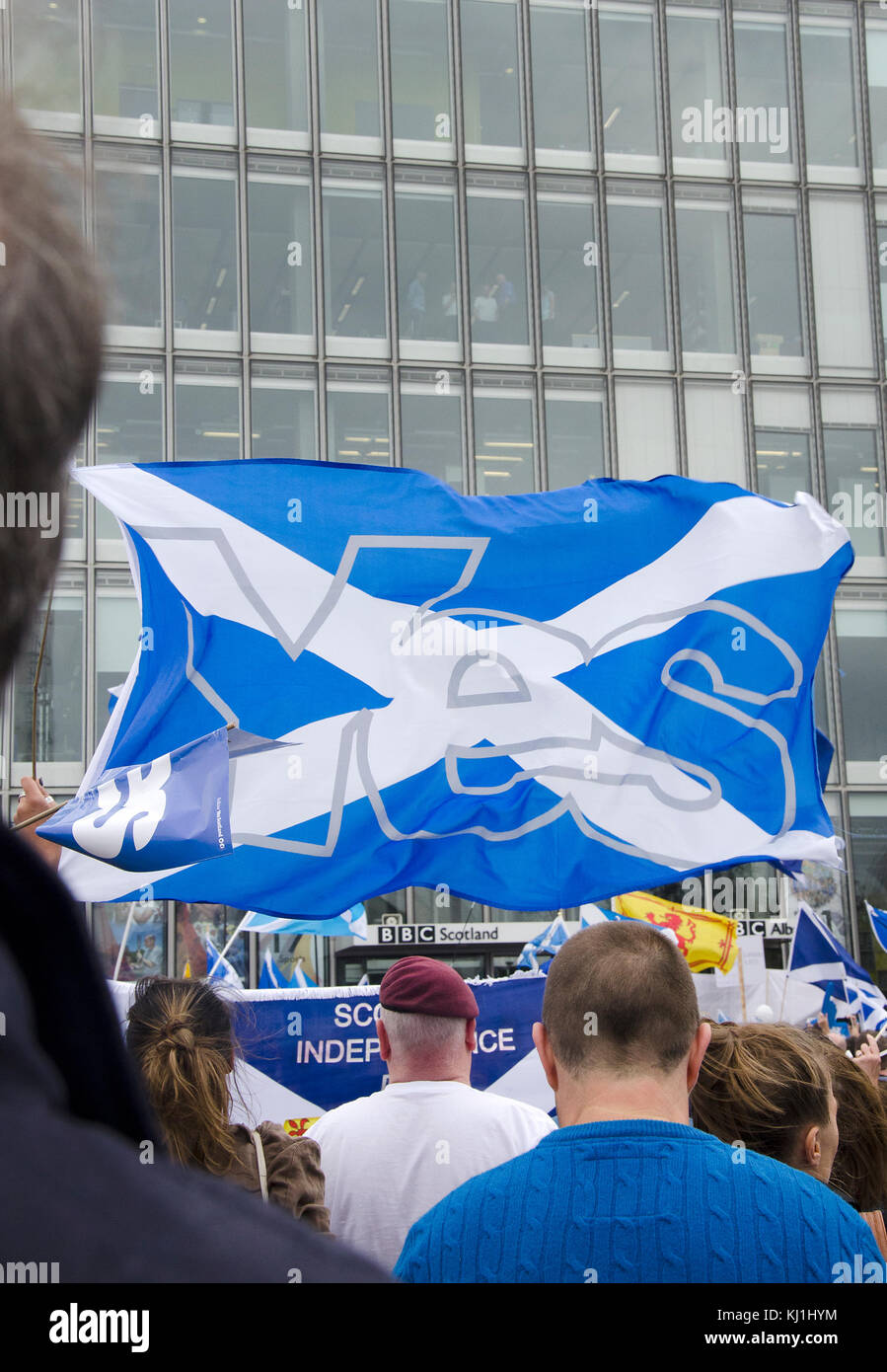 GLASGOW, SCOTLAND- SEPTEMBER 14 2014: Protest at the BBC Scotland HQ during the Scottish Independence Referendum Stock Photo