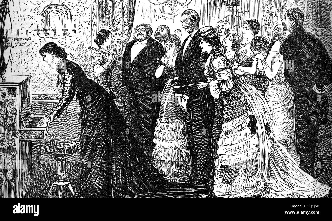 Engraving depicting a soirée being held inside a wealthy home. A young musician is playing the piano much to - Stock Image