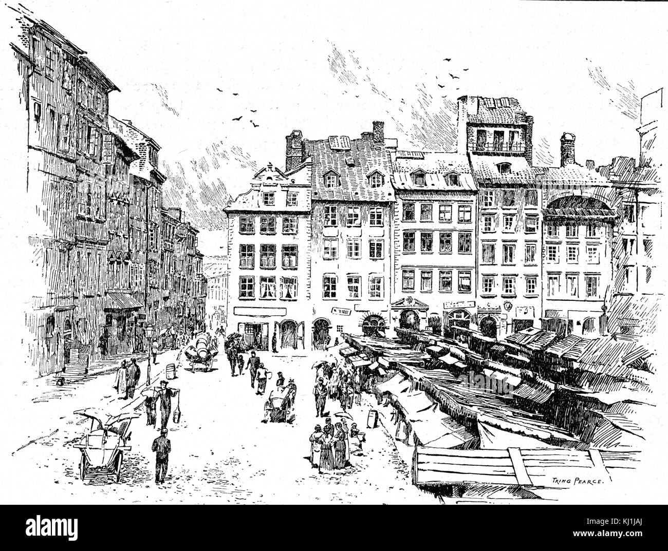 Engraving depicting the old town in Warsaw, Poland. Dated 19th Century - Stock Image