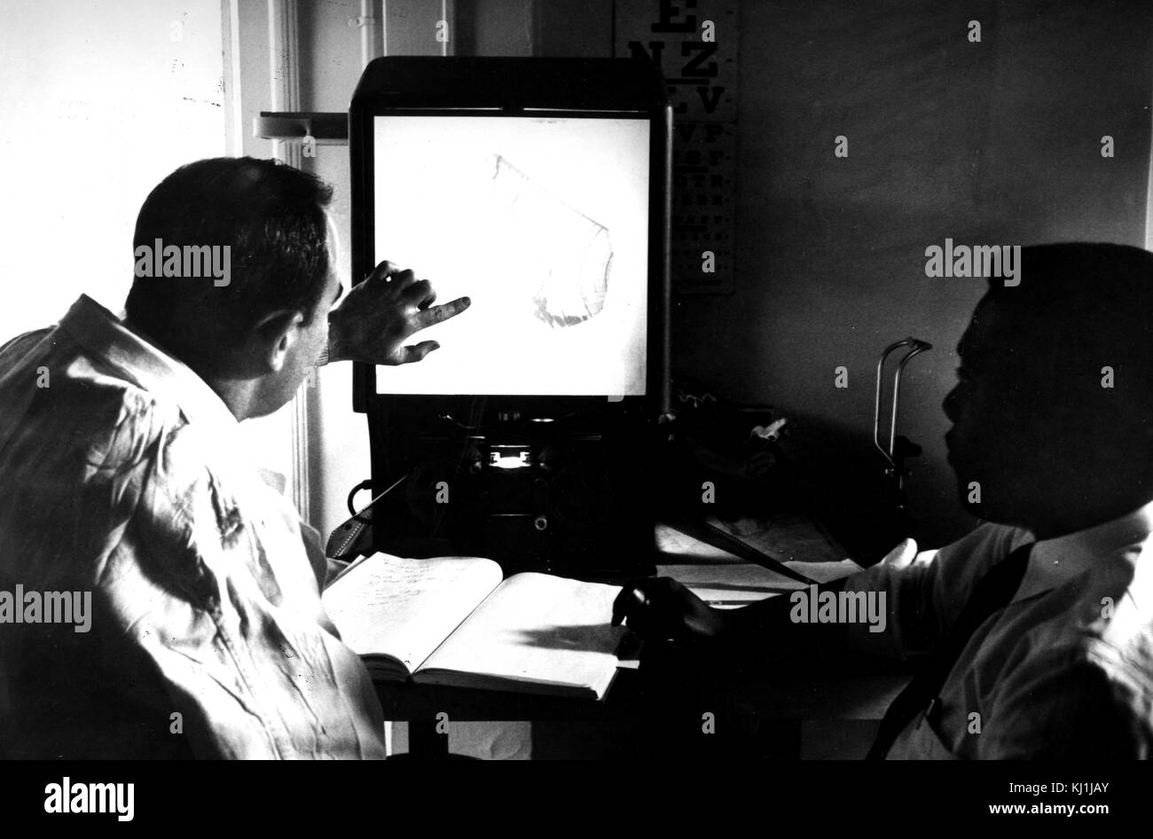 Photograph of an early ultrasound in use. An ultrasound scan, also referred to as a sonogram, diagnostic sonography, - Stock Image