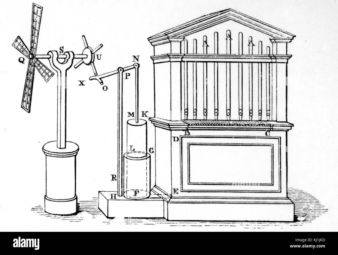 Engraving depicting the Hero of Alexandria's design for a pneumatic organ. This was essentially a small hand - Stock Image