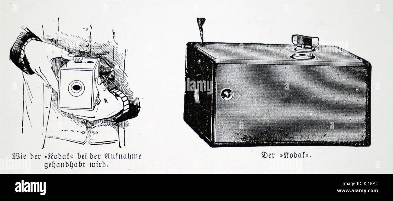 Engraving depicting a Kodak Box which used Eastman negative film roll. George Eastman (1854-1932) an American entrepreneur Stock Photo