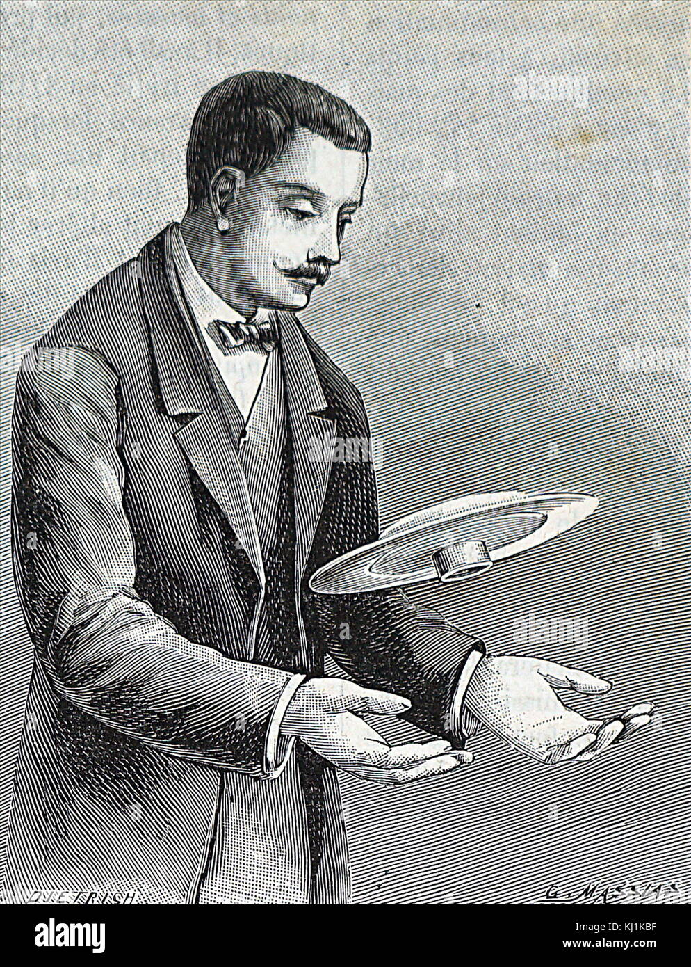 Engraving depicting a scientist conducting an experiment to show centrifugal force. Dated 19th Century Stock Photo