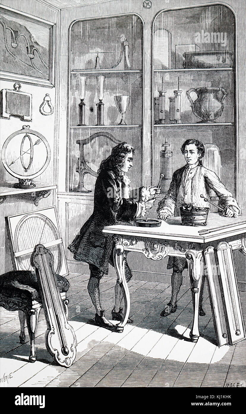 Engraving depicting René Antoine Ferchault de Réaumur constructing a thermometer. René Antoine Ferchault - Stock Image