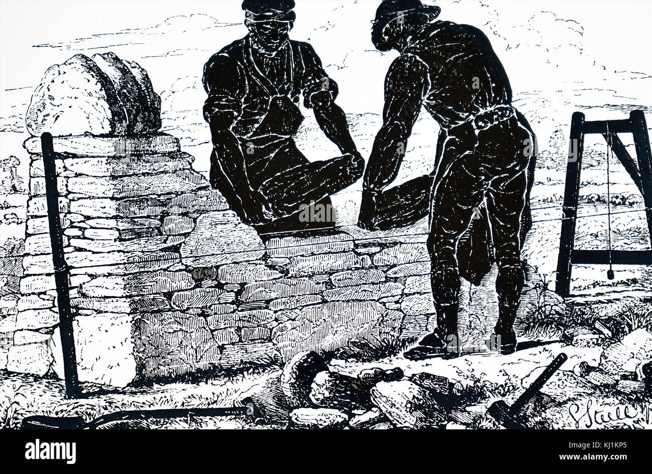 Engraving depicting the use of a plumb-bob to keep a dry stone wall vertical as it is built. Dated 19th Century Stock Photo
