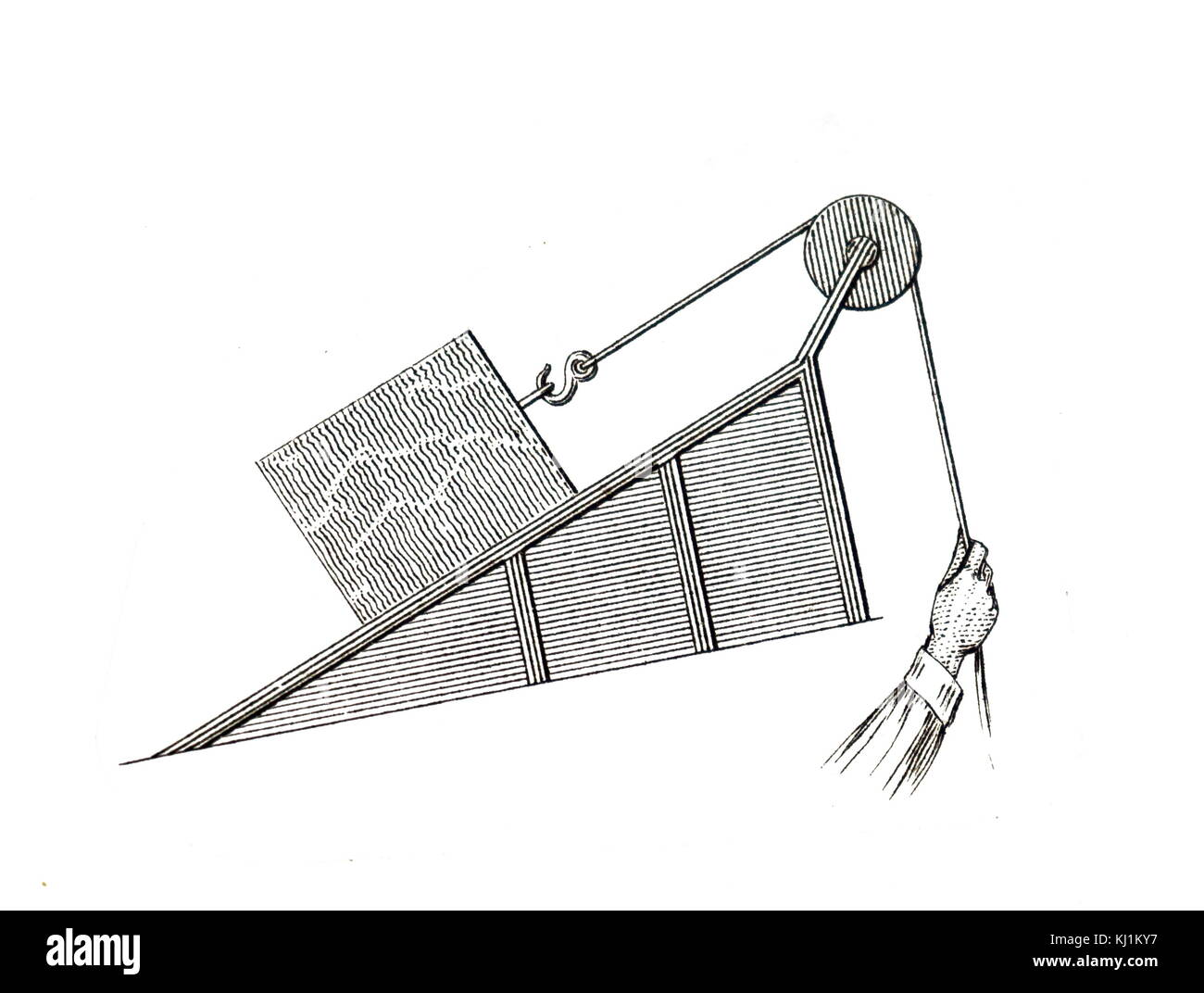 Illustration of an 19th Century mechanical pulley Stock Photo