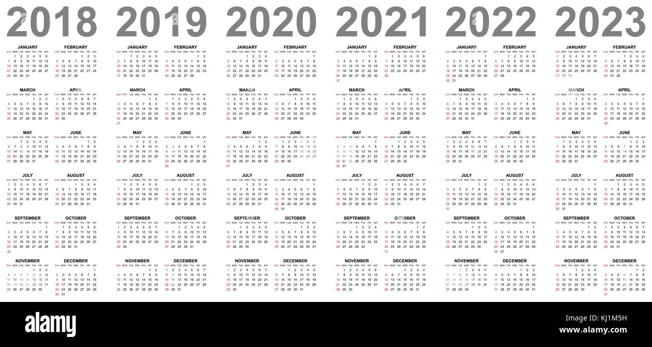 simple editable vector calendars for year 2018 2019 2020 2021 2022 2023 sundays in red first