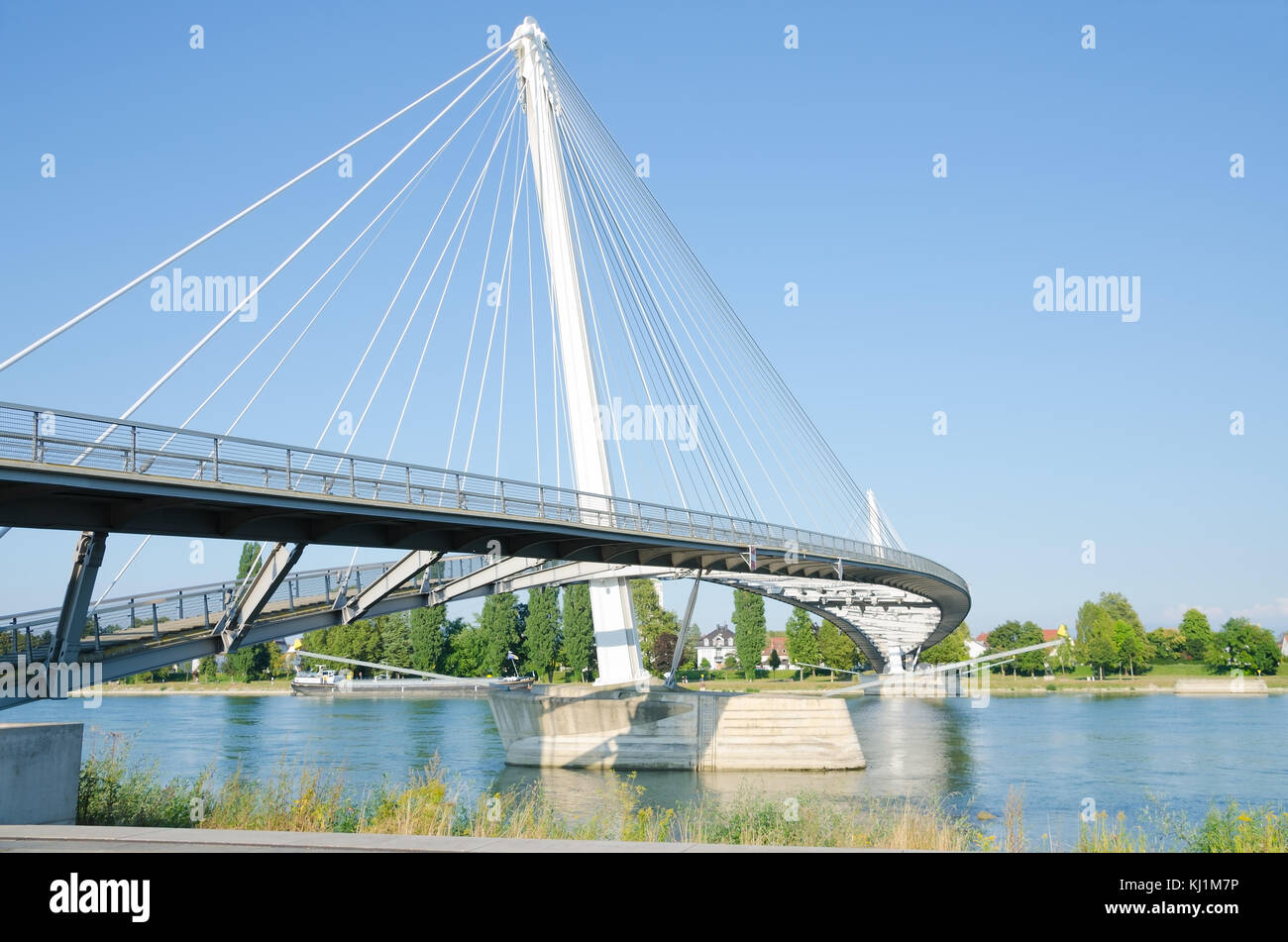STRASBOURG, FRANCE. 31st August 2016. The Passerelle Mimram, a pedestrian bridge linking the German and French sides of the Rhine river. Stock Photo