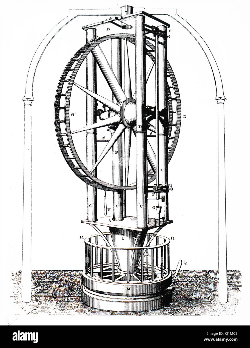 Engraving depicting Giuseppe Piazzi's refracting telescope with achromatic lens built by Jesse Ramsden. Giuseppe Stock Photo