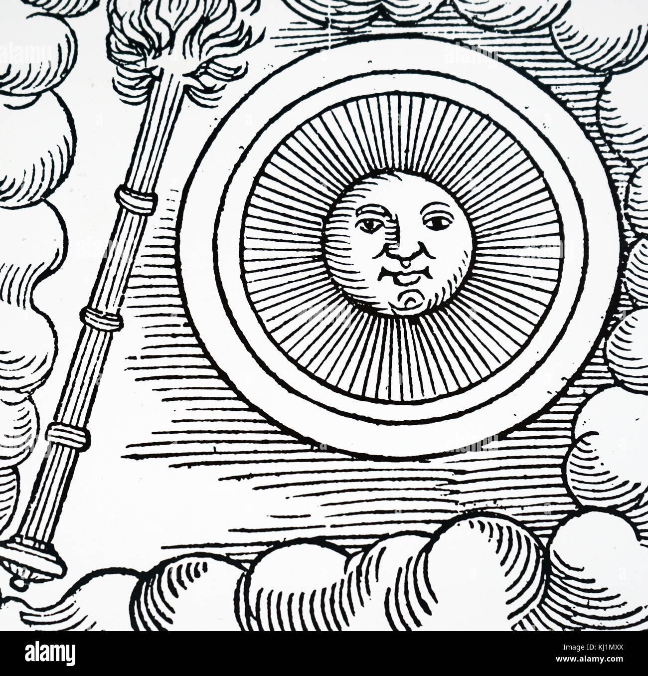 Woodblock print depicting a Sungrazing comet. A Sungrazing comet is a comet that passes extremely close to the Sun - Stock Image
