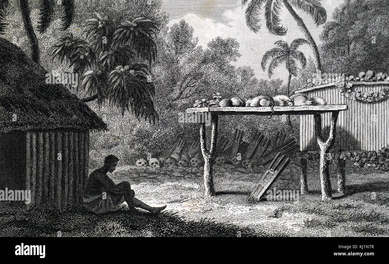 Illustration of a native from Oceania with sacrificial altar and skulls. Anthropological study by Edward Polehampton - Stock Image