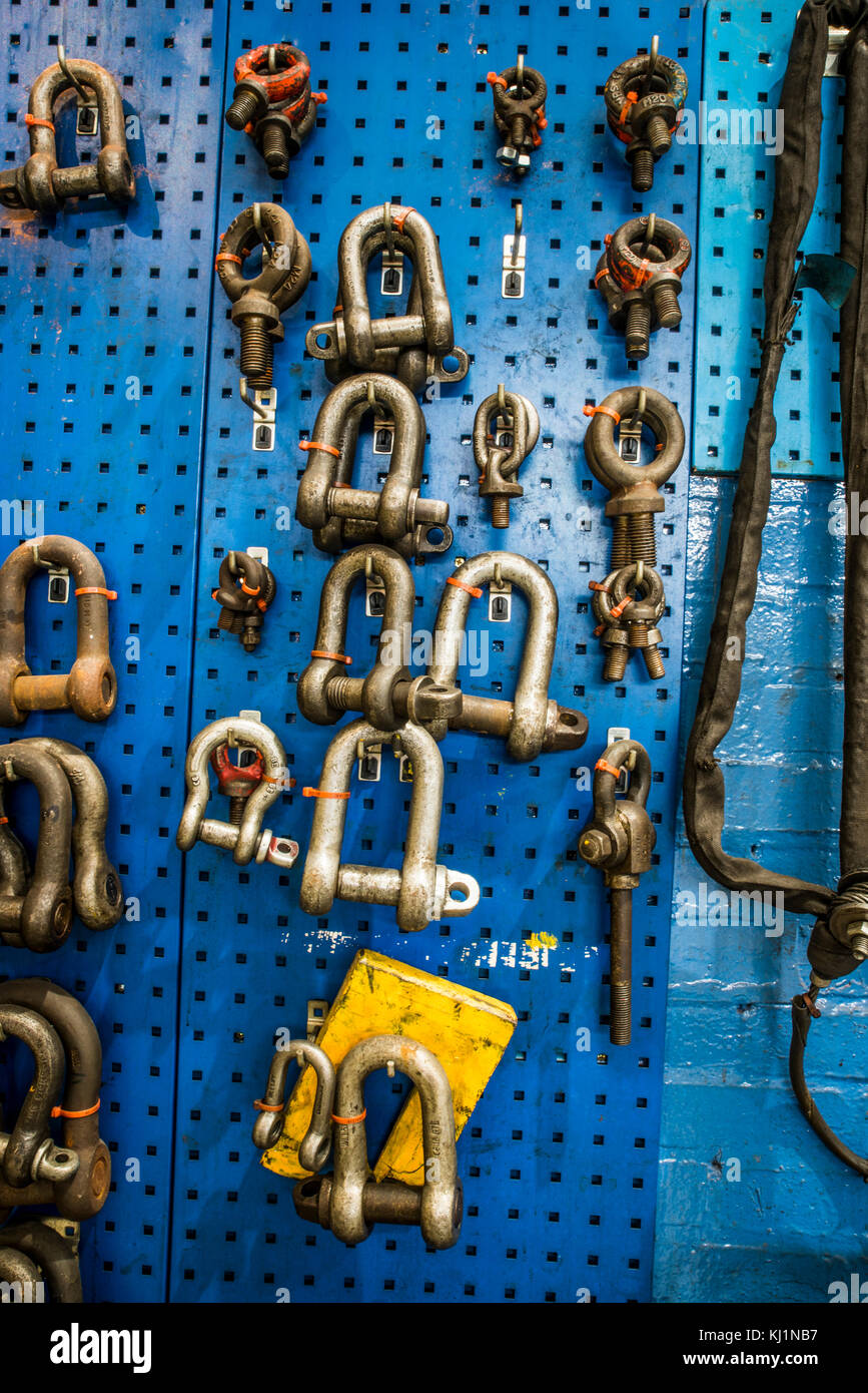Lifting Equipment at Etches Park Depot - Peg board with