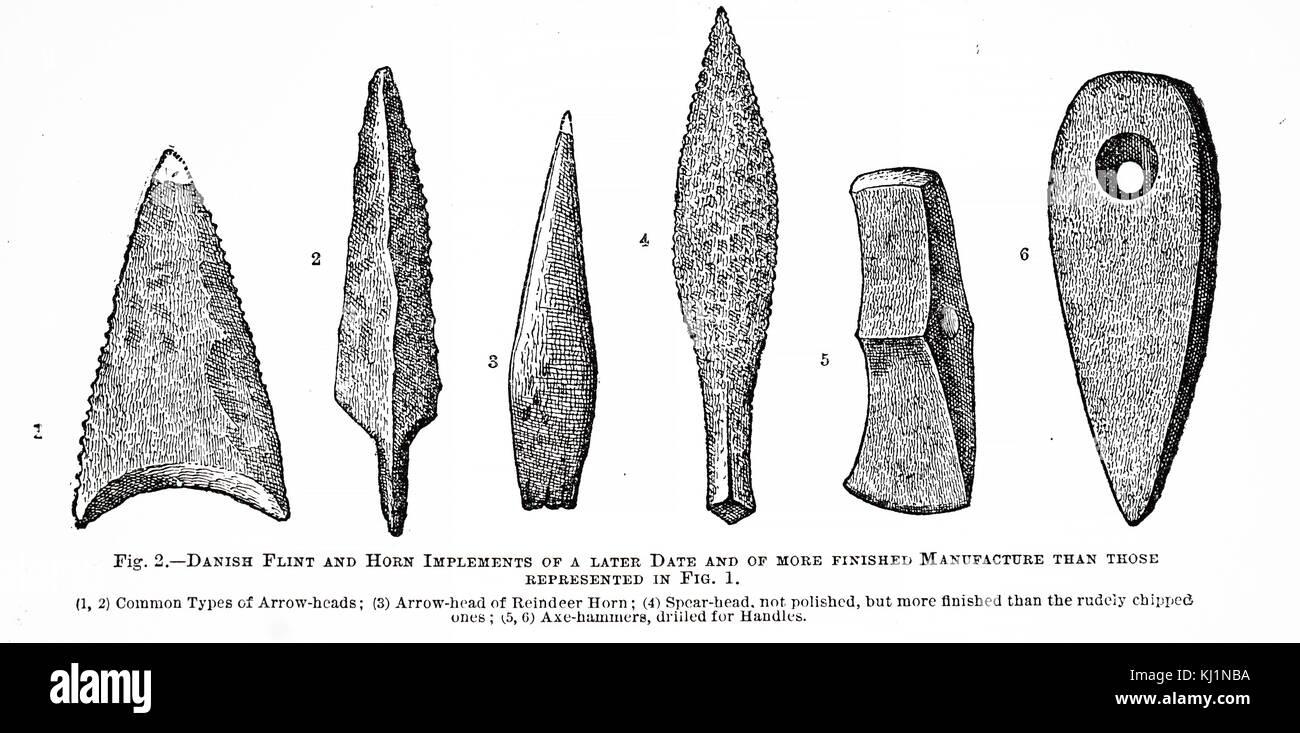 Stone age flint  tool Danish type reproduction