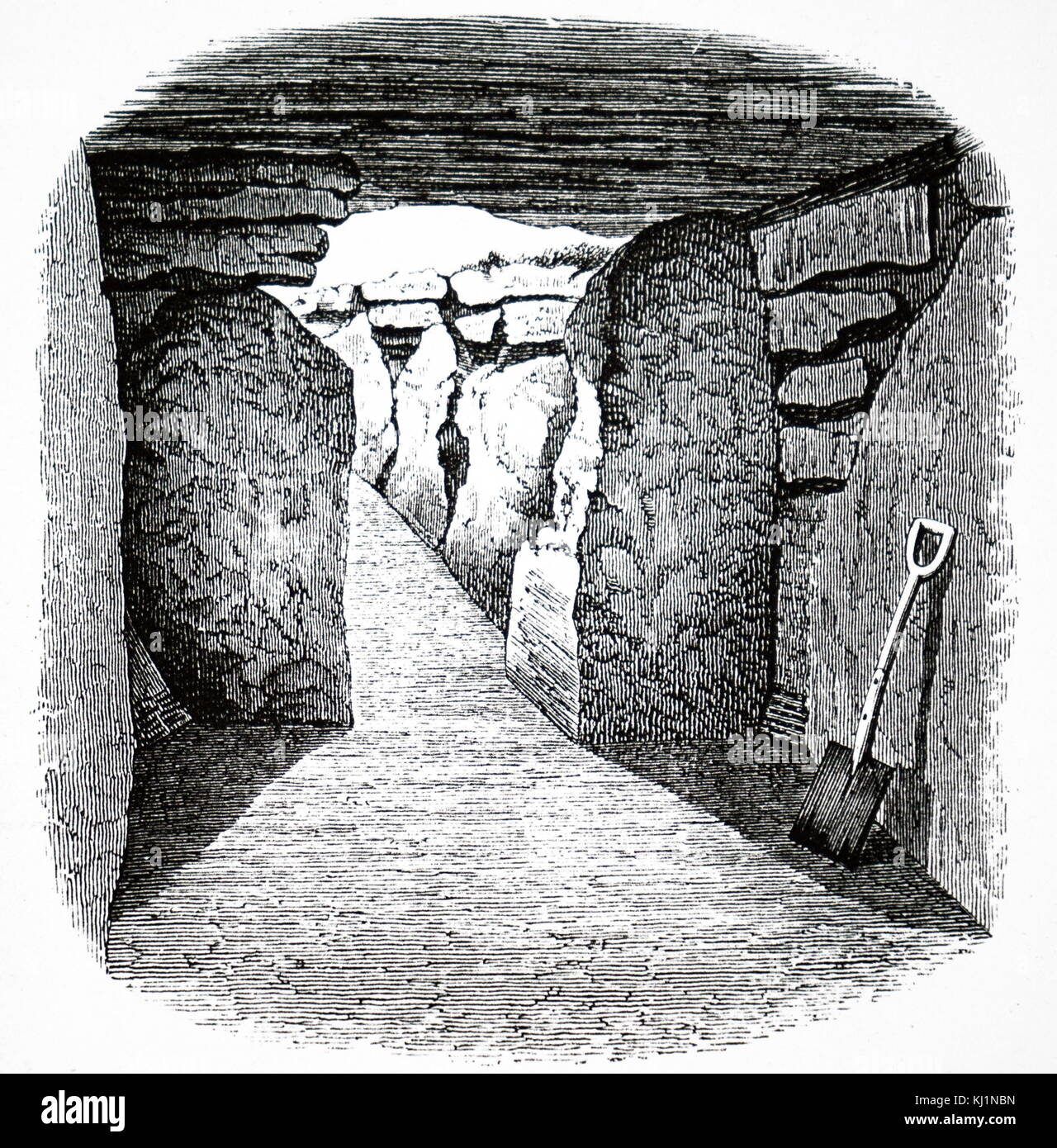 Engraving depicting the newly excavated Long Barrow (tumulus) near West Kennet, Wiltshire. This burial chamber contained - Stock Image