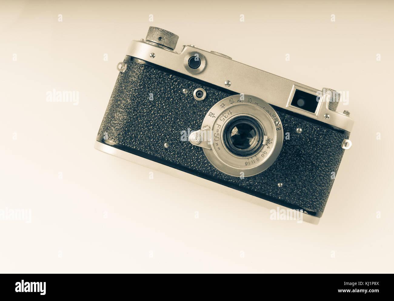 Retro rangefinder camera - Stock Image